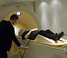 A volunteer about to have his brain scanned
